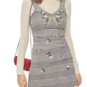 Pinafore Dress with Embroidered Flowers (Topshop)